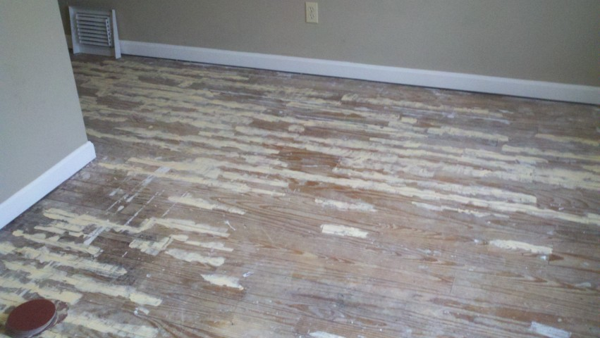 chipped and damaged wood floor