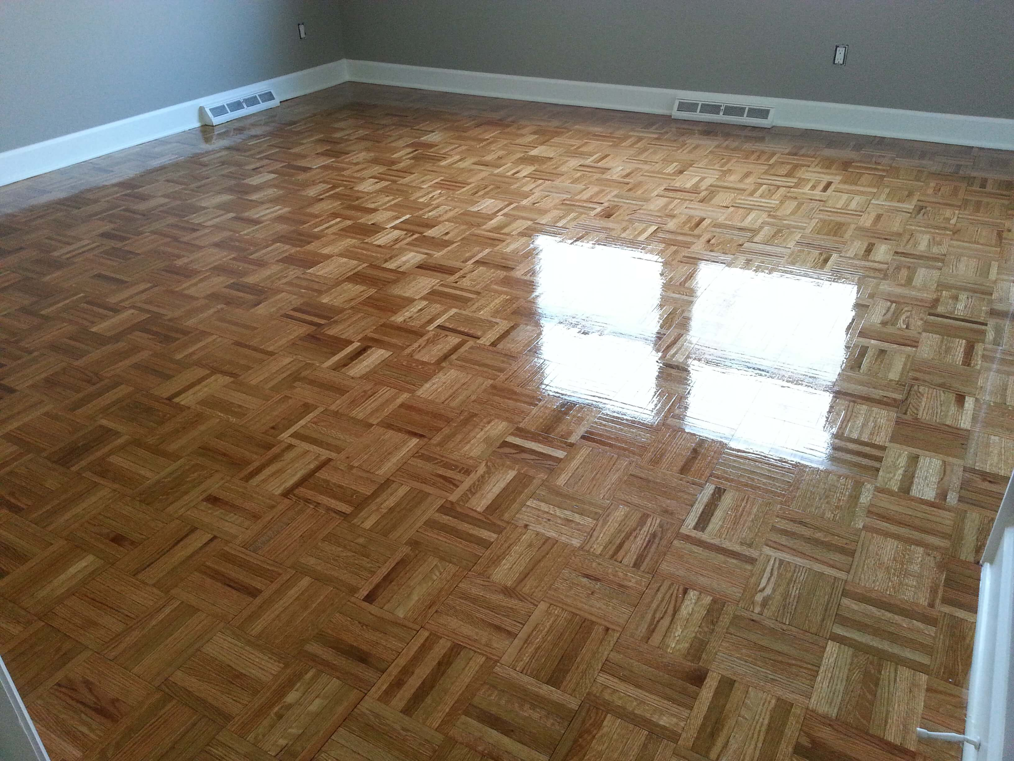 a refinished parquet wood floor done by fabulous floors nashville.