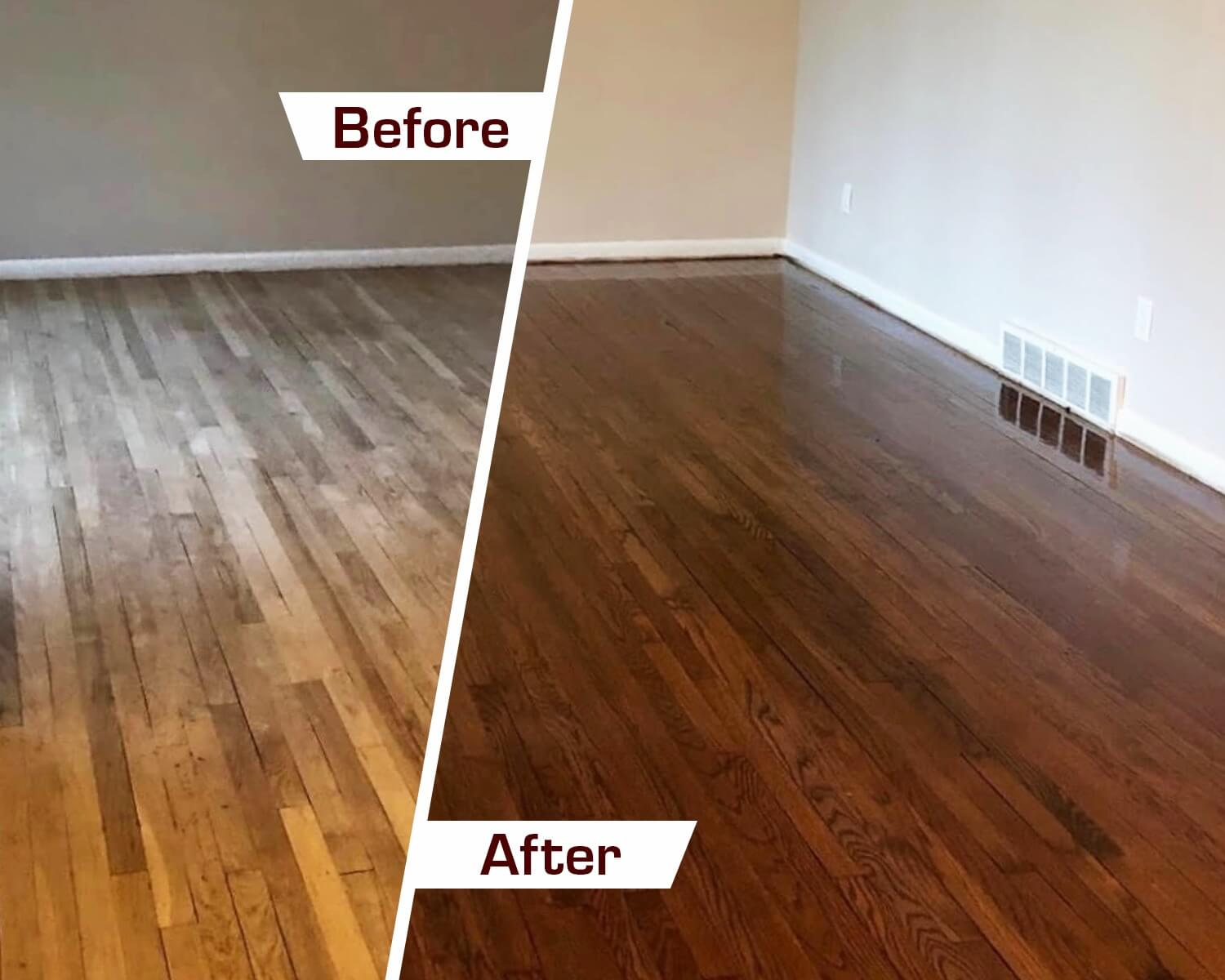 before and after hardwood floor refinishing in nasvhille