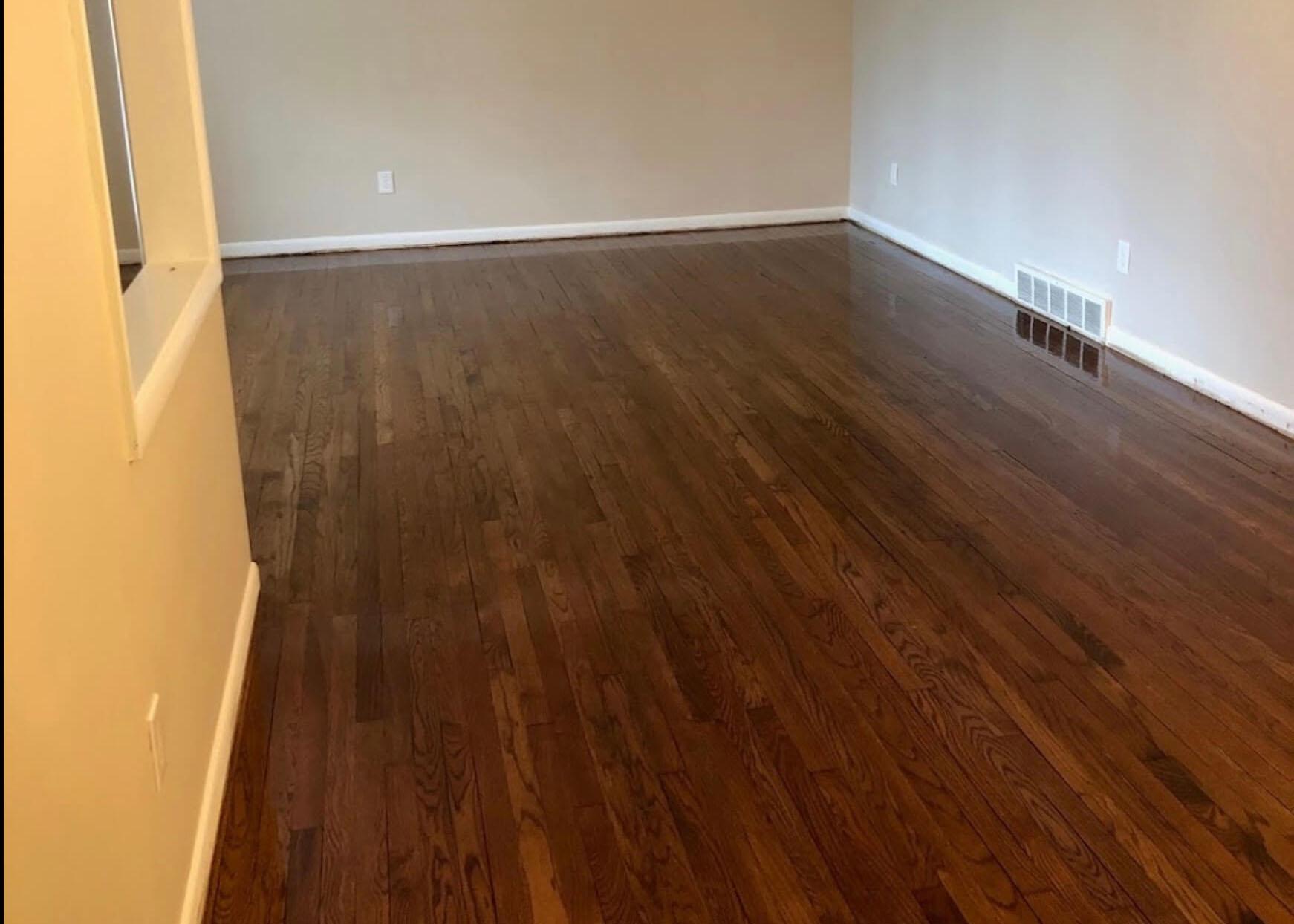 A freshly refinished hardwood floor