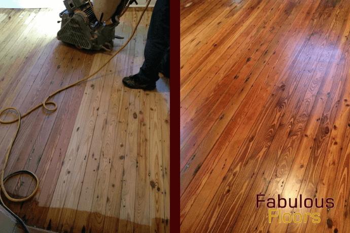 before and after hardwood floor refinishing in White House, TN