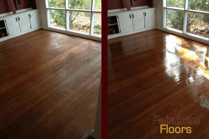 before and after hardwood floor resurfacing in Dickson, TN