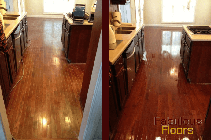 before and after hardwood floor refinishing in Millersville, TN